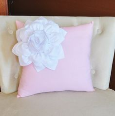 White Corner Dahlia on Light Pink Pillow  Baby Nursery by bedbuggs, $35.00