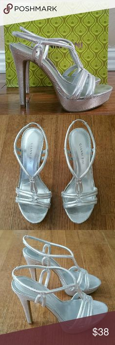 Gianni  Bini high heels size 7M Oh so pretty heels! Very comfortable! In excellent condition. Worn once only.  Leather upper Style: Miranda041 Color: Silver / Tonal Size 7M 5 inches Gianni Bini Shoes Heels