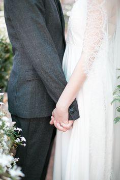 wedding inspiration // spring greenhouse // rue de seine gown