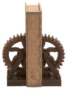 One Kings Lane - The Industrial Interior - Pair of Wheel Gear Bookends