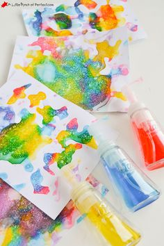 I have been saving foaming soap pump containers and finally found something awesome to do with them while enjoying some Process Art! Kids can cover their paper with tons of colorful bubbles (no straw required so there is no worry about drinking bubbles). Then sit back and watch the magic happen as the bubbles dry …