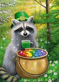 Raccoon-St-Patrick-039-s-Day-rainbow-pot-of-gold-fantasy-OE-aceo-print-art