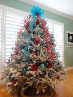 aqua and red flocked coastal christmas tree - Aqua Christmas Tree