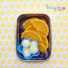 Lancheira de dia quente: laranja + mirtilo + melão