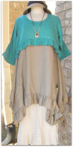 Sassy Rags 3/4 sleeve turquoise linen shrug top