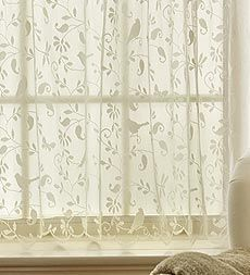 USA-Made Machine Washable- Bristol Garden Lace Valance And Tiers