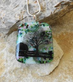Fused Glass Pendant  Stone Look Glass Pendant Tree of by GlassCat