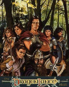 Cover of the final book in Dragonlance's Meetings Sextet...I believe it's just called The Companions.  Left to right: Caramon and Raistlin Majere, Tanis Half-Elven, Kitiara Uth'Matar, Sturm Brightblade Front: Tasselhoff Burrfoot, Flint Fireforge