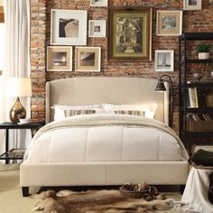 Chavelle Beige Queen platform bed. Headboard attaches with two side wingbacks and large single nail head decor. Handcraft enfoldment lends a neat, finished and fabulous look to the whole bed.