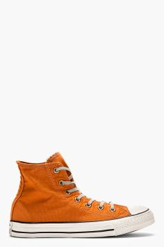 CONVERSE PREMIUM CHUCK TAYLOR Orange WELL-WORN CHUCK TAYLOR HIgh-TOP SNeakers