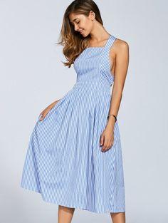 Striped Straps A Line Dress - Stripe Cheap Dresses, Sexy Dresses, Dresses For Sale, Dresses 2016, Boho Outfits, Vintage Outfits, Fashion Outfits, Trendy Fashion, Ladies Fashion