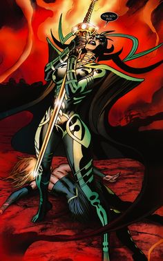 Seriously, Hela's original Jack Kirby costume is so great it's ridiculous the skimpy travesties that some artists put her in. (Art here by Alan Davis) #comics #bamf #styleidol