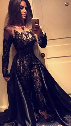f29db13ab3ce8 Black Evening Dresses 2016 Sexy Sheer Jumpsuit Crew Neckline Beaded With Long  Sleeves And Satin Train Evening Dresses For Cheap Evening Dresses For Older  ...