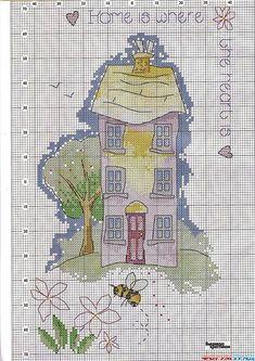 вышивка домик