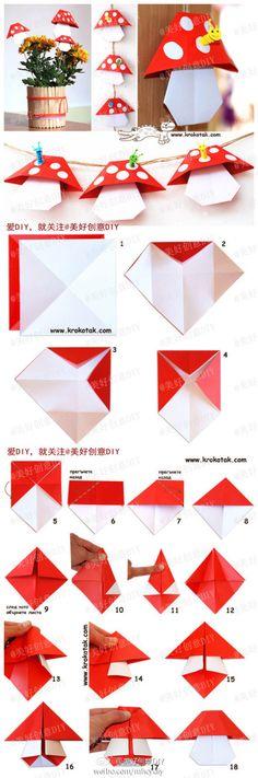 """Résultat de recherche d'images pour """"simple origami mushroom"""""""