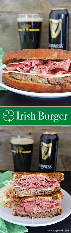 Get lucky with the Irish Burger! Topped with Corned Beef, Guinness mustard, Swiss cheese, and onions. This burger is totally awesome! Grilling Recipes, Beef Recipes, Cooking Recipes, Uk Recipes, Hamburger Recipes, Food Truck, Charcuterie, Ireland Food, St Patricks Day Food