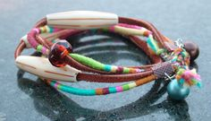 Smallish Sable Brown Leather and Beachy Pink, Lime, and Turquoise Threads of Hope Friendship Bracelet or Choker