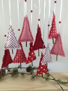Deco and accessories for Christmas: 10 small charming trees - red / white . - Deco and accessories for Christmas: 10 small charming trees – red / white made by Steinhoff-Design - Fabric Christmas Trees, Handmade Christmas Decorations, Christmas Ornament Crafts, Noel Christmas, Homemade Christmas, Simple Christmas, Xmas Decorations, Holiday Crafts, Rustic Christmas