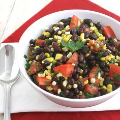 Southwestern USA - Black bean salad with corn, tomato, avocado, chipotle chile en adobo, parsley, and green onions.