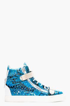 Giuseppe Zanotti Blue Leather Python Atlantide High top Sneakers