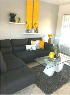 41 grey living room ideas for gorgeous and elegant spaces 14 – Living Room Inspiration – Living Room Ideas Romantic Living Room, Classy Living Room, Cute Living Room, Living Room Modern, Living Room Designs, Living Room Decor, Grey And Yellow Living Room, Colourful Living Room, Purple Bedroom Decor
