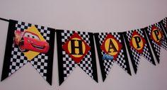 Disney Cars Birthday Banner  Handmade  Customizable by ArtisanHut