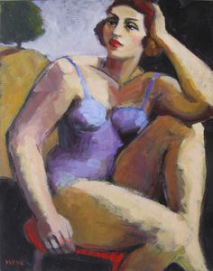 Contemplative woman, 14x11 in acrylic on canvas by Marie Fox