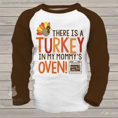Etsy thanksgiving big brother or big sister shirt - turkey in mommy's oven pregnancy announcement shirt o
