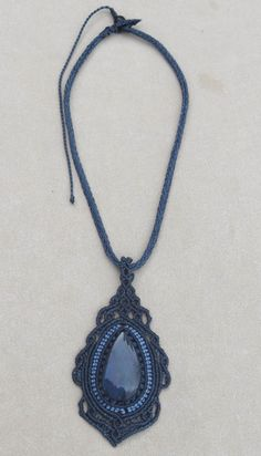 Macrame necklace with Huichol Obsidian natural stone by Amonithe, $40.00