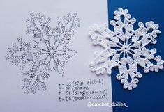 Crochet Christmas Ornaments, Christmas Crochet Patterns, Christmas Snowflakes, Christmas Crafts, Crochet Diagram, Crochet Motif, Crochet Doilies, Crochet Lace, Crochet Earrings Pattern