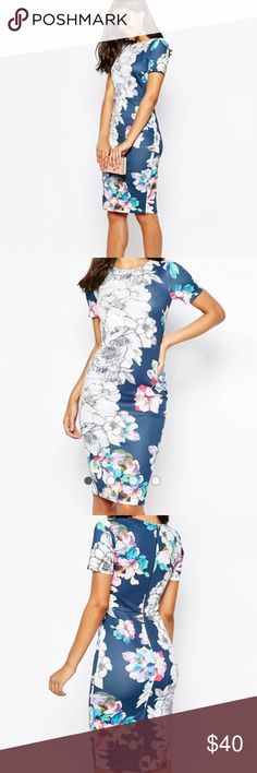 """Floral Scuba Bodycon Dress PRODUCT DETAILS Midi dress by ASOS Collection Smooth scuba-style fabric All-over print Crew neckline Kick split hem Zip back fastening Close-cut body-conscious fit Machine wash 94% Polyester, 6% Elastane Our model wears a UK 8/EU 36/US 4 and is 175cm/5'9"""" tall ASOS Dresses Midi"""