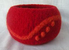love the subtle design Nuno Felting, Needle Felting, Textile Fiber Art, Red Felt, Textile Jewelry, Pots, Sheep Wool, Felt Art, Wool Felt