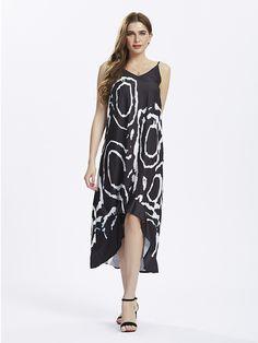 Sale 23% (16.39$) - Sexy Women Strap Geometric Pattern Printing High Low Maxi Dress