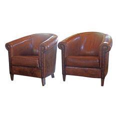Antwerp Leather Club Chair Set