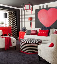 Red And Black Focal Point Styling Welcome February With These Room Lookstolove