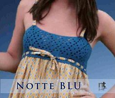 Notte Blu - 'A simple filet crochet bandeau for a country nightgown' - Free filet crochet charted pattern for a dress/nightgown/top - by NT Maglia