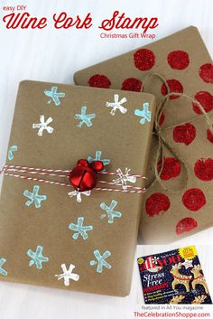 Stamped Christmas gift wrap, make your own snowflake stamp - The Celebration Shoppe featured in @ALL YOU Magazine
