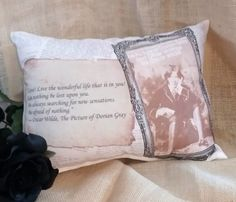 This The Picture Of Dorian Gray handmade pillow is inspired by the classic creepy novel by Oscar Wilde and would be perfect for Halloween or an avid reader. #DorianGray #Pillow #Halloween