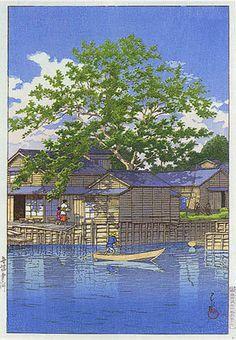 hanga gallery . . . torii gallery: Ferry at Funabori by Kawase Hasui