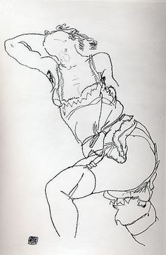 Reclining Model in Chemise and Stockings - Egon Schiele (Austrian, Tulln 1890–1918 Vienna), Date: 1917