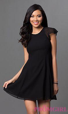 Sheer Cap Sleeve Short Black Dress by BCBGeneration at PromGirl.com