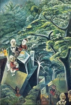 Father Ubu with son by Max Ernst. Surrealism. genre painting