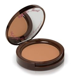 Too Faced Chocolate Soleil matte bronzer. I almost gave up on bronzers until I found this gem! It's matte and a true light brown! No orange look! The best part is that it smells like cocoa because it has real cocoa powder in it. Mmmmmm!
