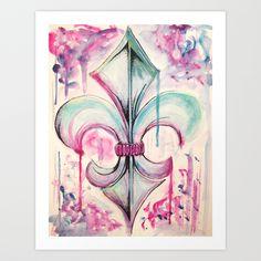 Fleur de Lis Art Print by Kerrie Cook | Society6 Fluer De Lis Tattoo, New Orleans Tattoo, Pallet Art, Sleeve Tattoos, Cubicle Ideas, Body Painting, Home Decor Inspiration, Watercolor Art, Amazing Art