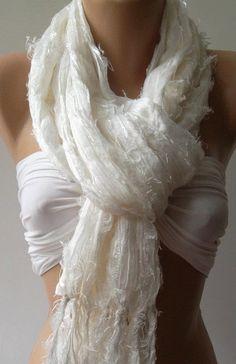 Ivory  Beige  Silky Touch   Elegance Shawl / Scarf by womann, $19.90