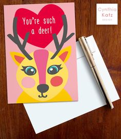 Valentines Day Printable Card // Deer Card // by CynthiaKatzDesign #valentinesday #valentinescard #cynthiakatz