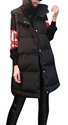 f0b69b4dd11 Womens Winter Lightweight Down Puffer Padded Thicken Long Vest with Hood  Black     Continue