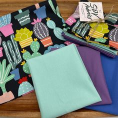 🌵Los Cactos by Alexander Henry and 3 Bella Solids by Moda Fabrics to coordinate, make up this 4 Piece Fat Quarter Bundle! Now available in the shop! Alexander Henry, Cotton Quilting Fabric, Fat Quarters, Bag Making, Fabrics, Quilts, Crafts, Bags, Etsy