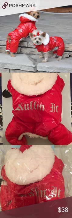 "Red Ruffin It Dog Snow Suit Harness XS TOP of the Line Red Dog Snow Suit is Pure Quality in every way. It is designed to keep your little girl Warm, Cuddly and Dry on those cold fall and winter nights. It is fully lined inside, with a very soft and thick Sherpa Fleece. The Outer Shell is made from a soft, flexible water repellent Polyester/Nylon Blended fabric, with the words ""Ruffin It"" silk screened on the middle back area.     Size Back Length Chest Weight (pounds) X-Small 9"" 11-13"" 3-5…"