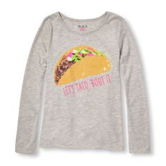 Girls Long Sleeve Embellished Foodie Graphic Top